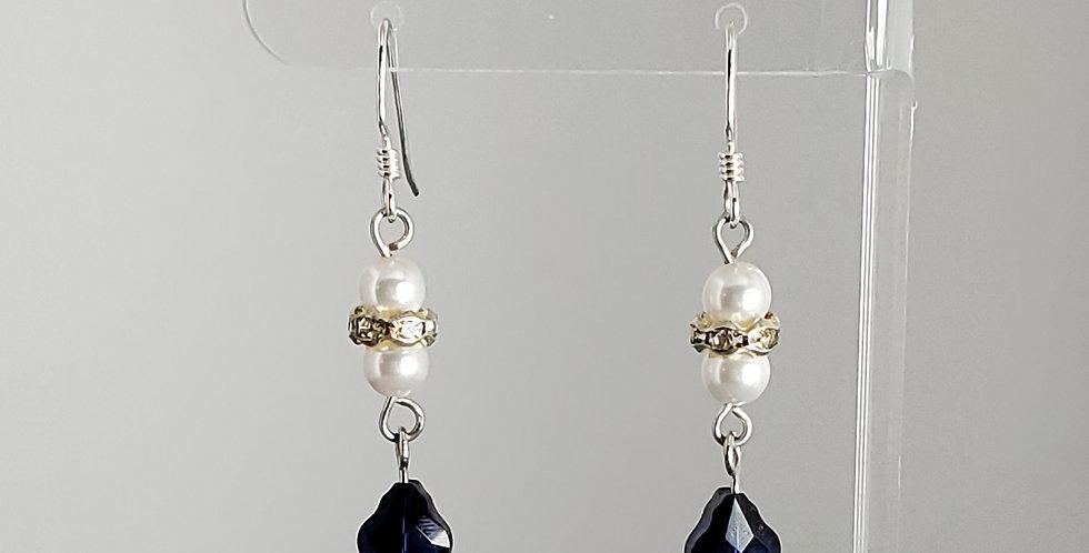 Swarovski and White Round Earrings - Sapphire Baroque