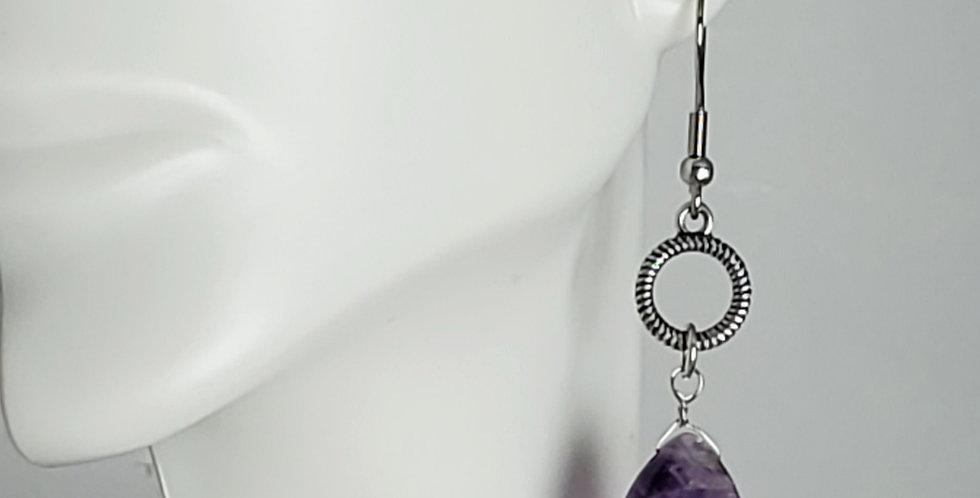 Antiqued Silver Amethyst Faceted Teardrop Earrings