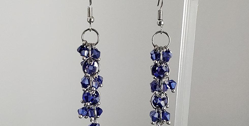 Bicone Cluster Earrings - Blue