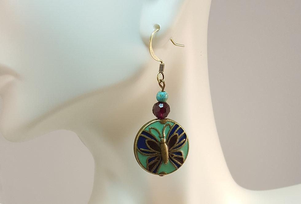 Antiqued Brass Butterfly Enamel Earrings