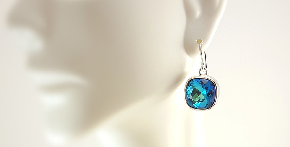 Cushion Shaped Swarovski Crystal Earrings - Bermuda Blue