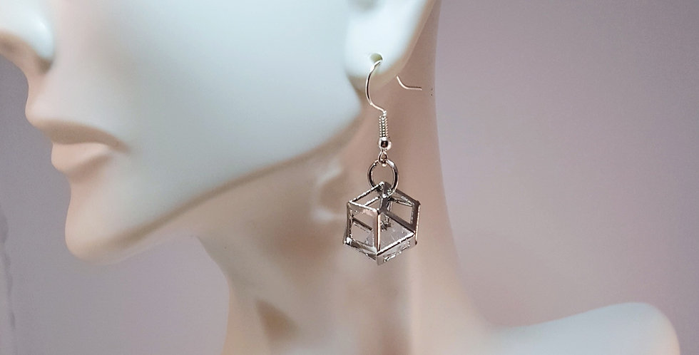 Silver Hollow Polygon with Crystal Earrings