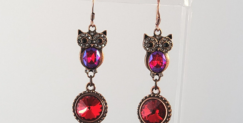 Antiqued Copper Owl with Swarovski Crystal Earrings - Red