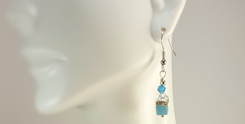 Glass Cube with Square Rondelle Earrings - Opaque Blue