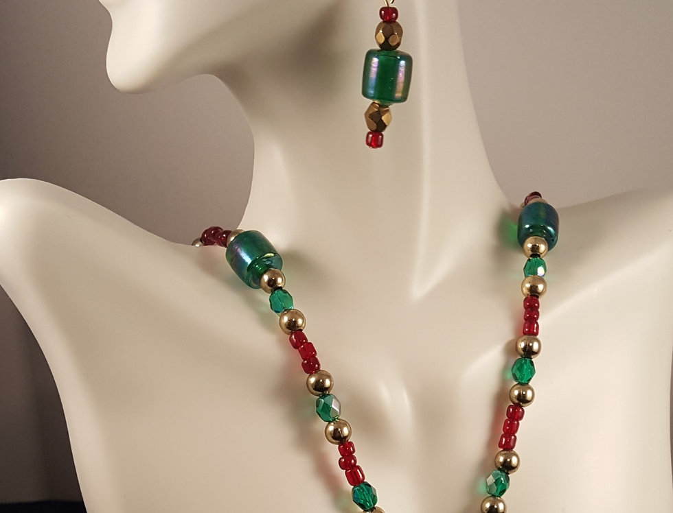 Christmas Lampwork Glass Necklace