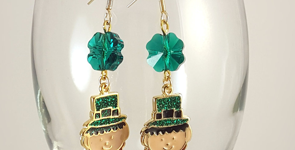 Leprechauns with Swarovski Shamrock Earrings - Gold