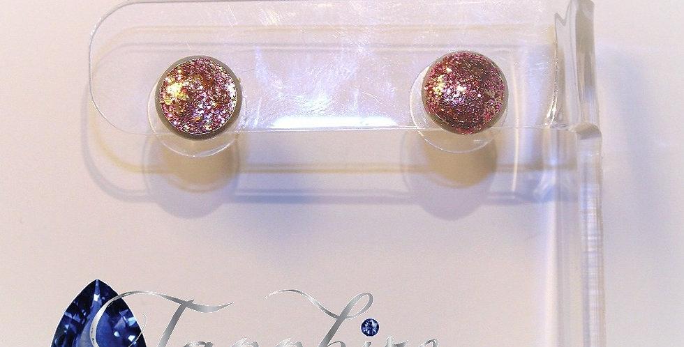 Glitter Druzy Stud Earrings - Pink