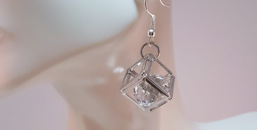 Silver Hollow Cube with Crystal Earrings