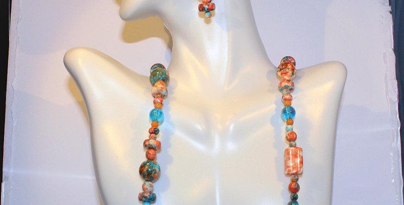Orange and Teal Ceramic Necklace Set