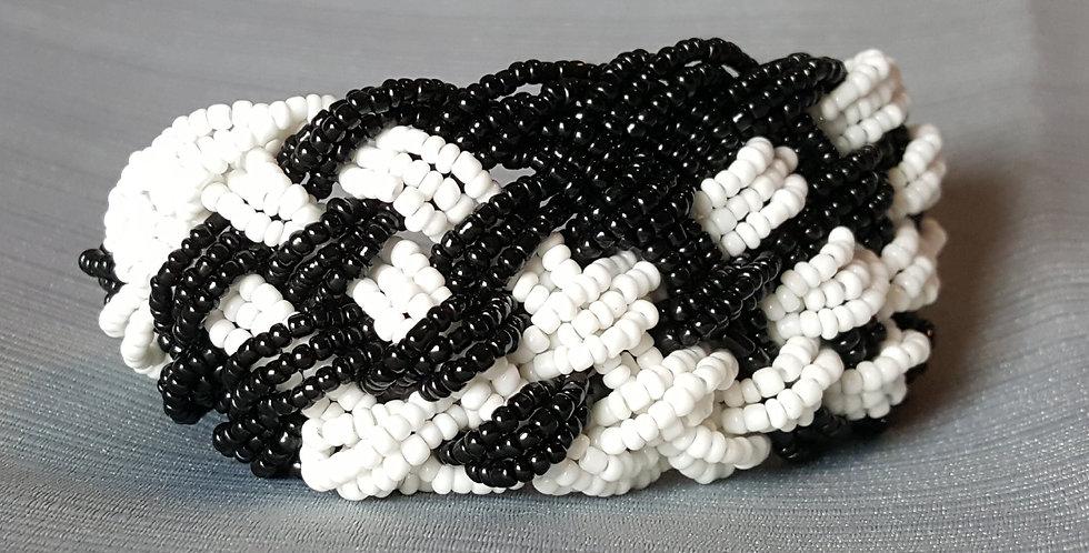 Wide Braided Seed Bead - Black, White