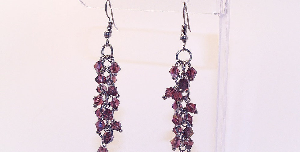Bicone Cluster Earrings - Purple
