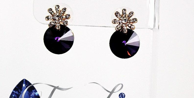 Purple Glass Rivolvi with Clear Rhinestone Burst Post Earrings