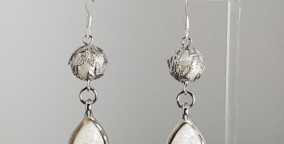 White Glass Pearl, Silver Cap with Druzy Drop Earrings - White Teardrop