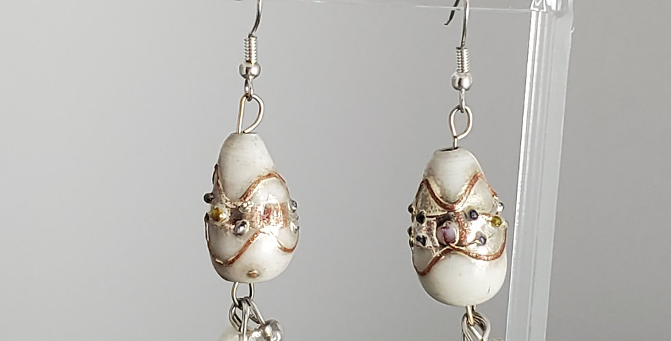 White Lampwork Glass Teardrop Fishhook Earrings