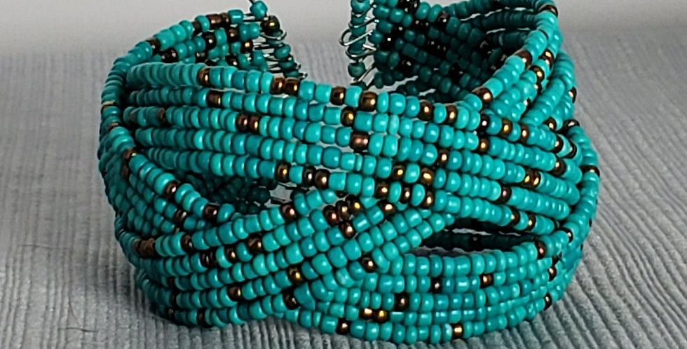 Braided Memory Wire Seed Bead Cuff - Teal