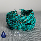 Braided Wire Seed Bead Cuff - Teal