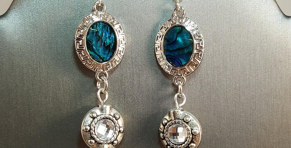 Paua Shell Earrings - Oval - Circle