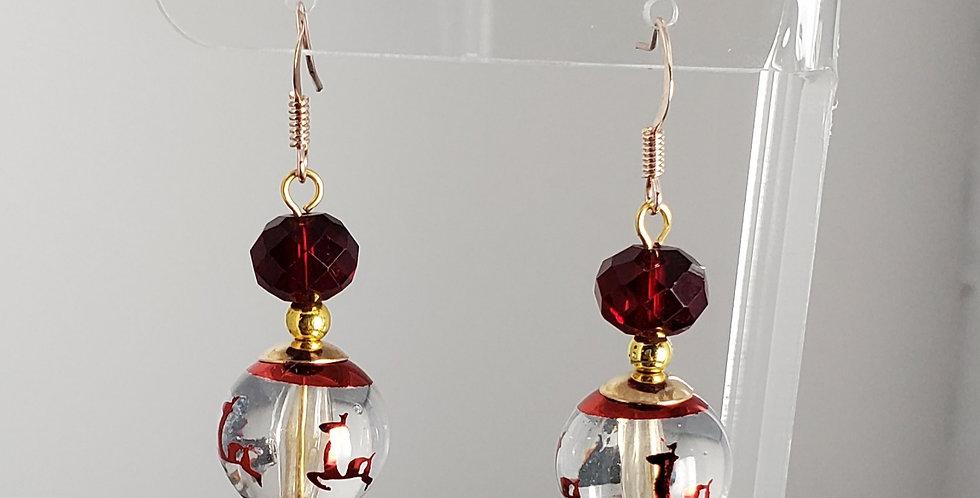 Christmas Ornament Earrings - Red