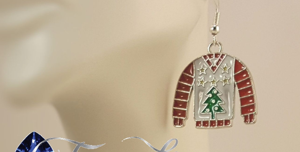 Ugly Sweater Earrings - White Christmas