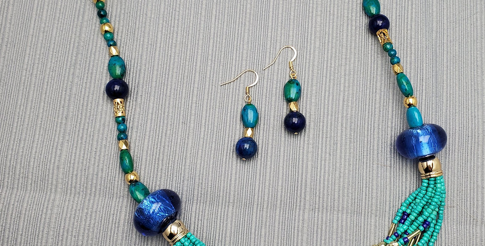 Teal, Dark Blue and Gold Seed Bead Necklace Set