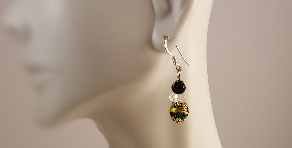 Eclectic Lampwork Glass Glass Earrings - Black Silver Gold