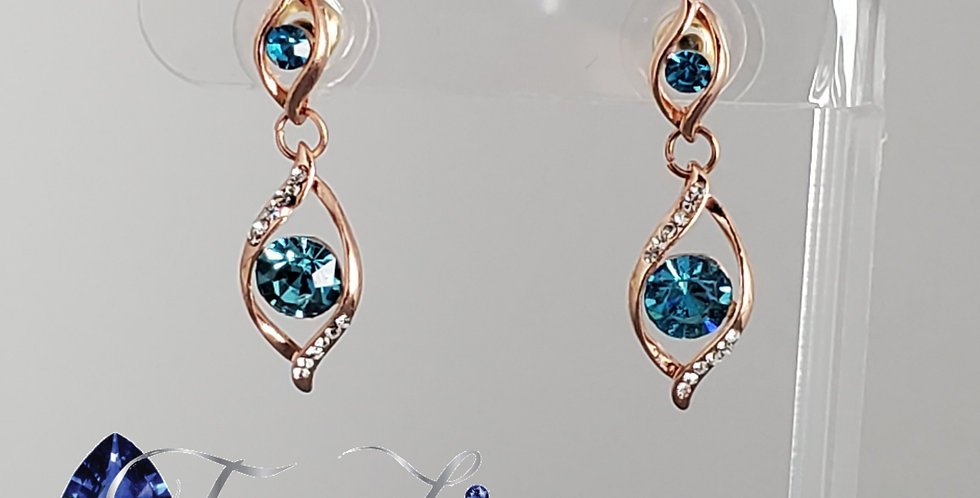 Rose Gold Double Twist With Aquamarine Center Earrings