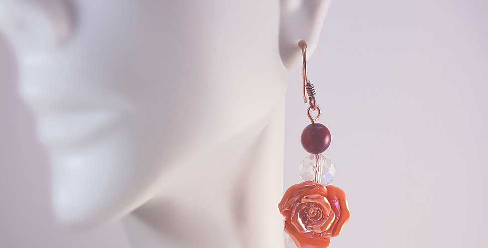 Copper Ceramic Rose Earrings with Spiral Detail - Pink Rose Red Agate