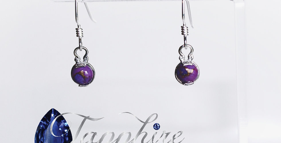 Purple Turquoise Gemstone on Sterling Silver Fishhook Earwires
