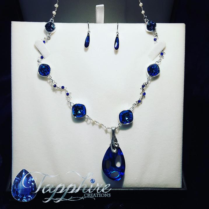 Bermuda Blue Swarovski Radiolarian Necklace Set
