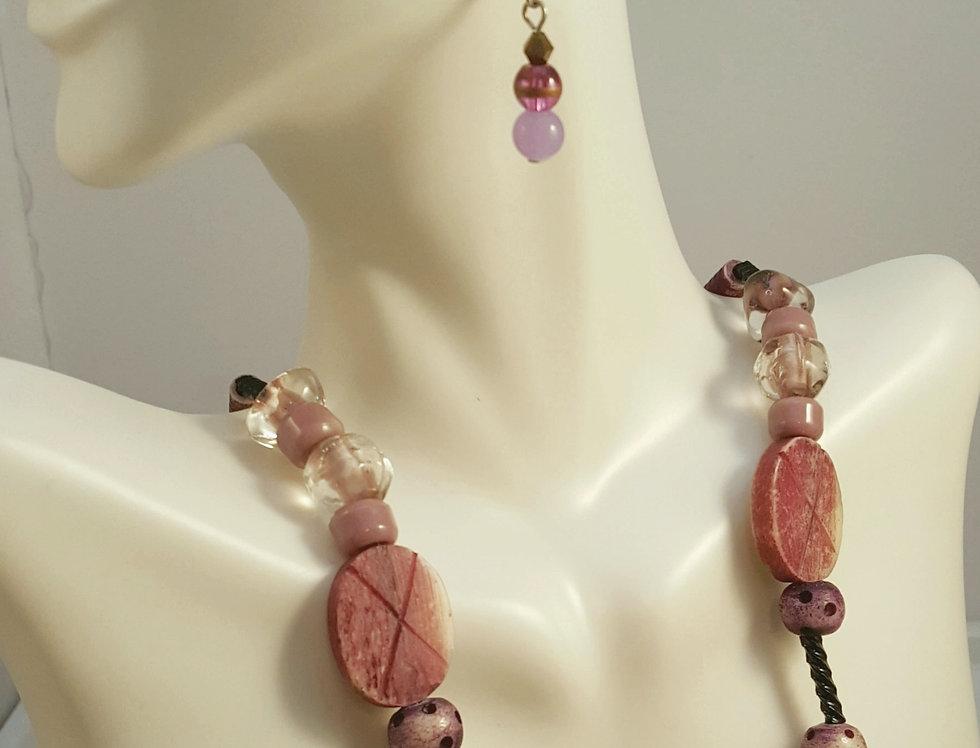 Purple Wood Grain Necklace
