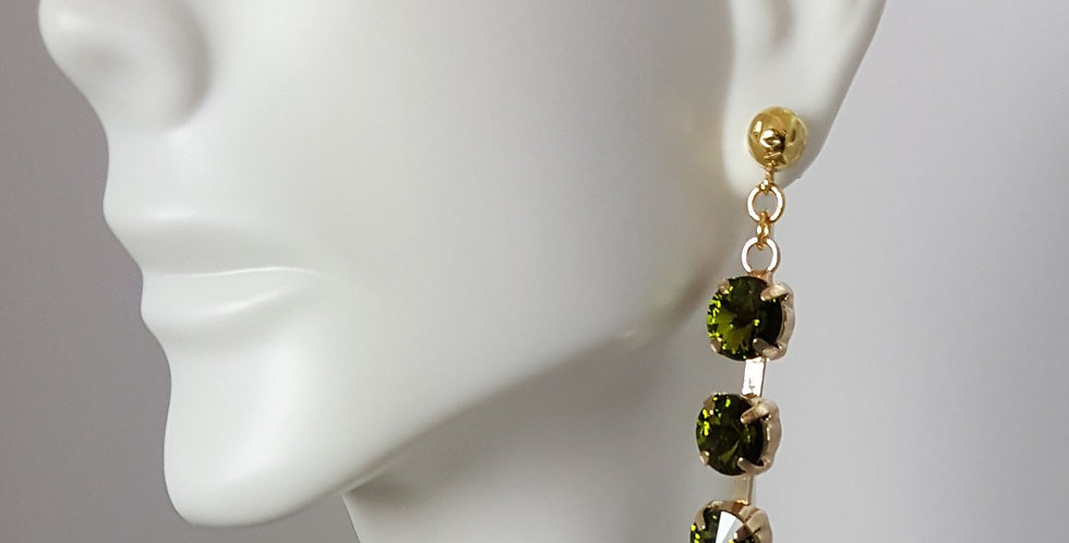 SS39 Swarovski Earrings- Triple Gold Olivine
