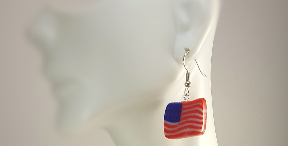 Polymer Clay American Flag Earrings