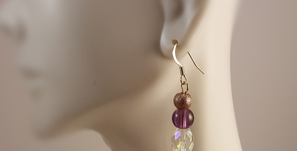 Purple and Coppery Gold Earrings