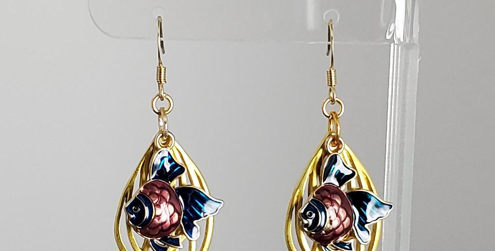 Gold Enameled Fish Earrings - Mauve Blue