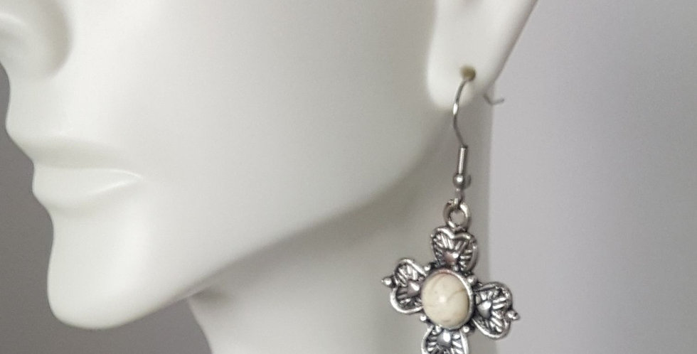 Antiqued Small Cross Earrings - White