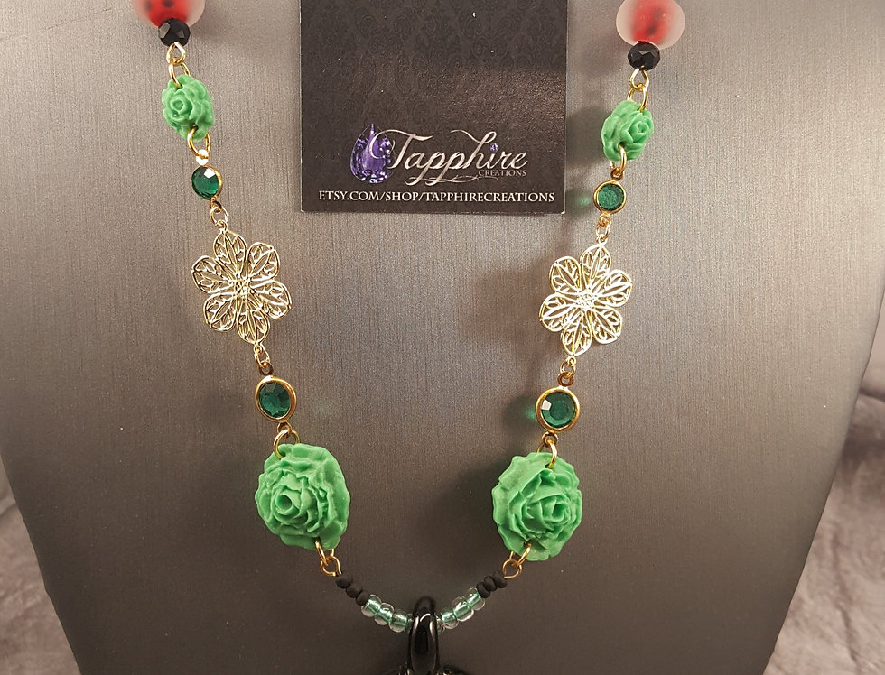 Ladybug Necklace Set - Green