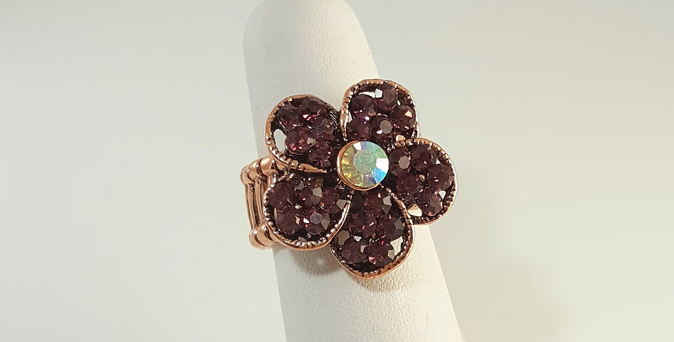 Purple Copper Flower Ring
