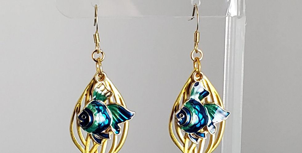 Gold Enameled Fish Earrings - Blue Green