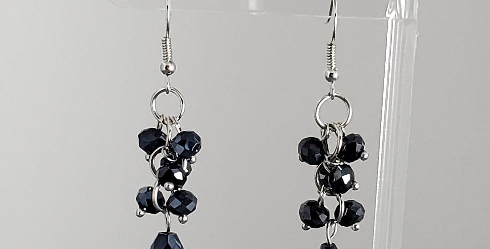 Rondelle Cluster with Teardrop Earrings - Black
