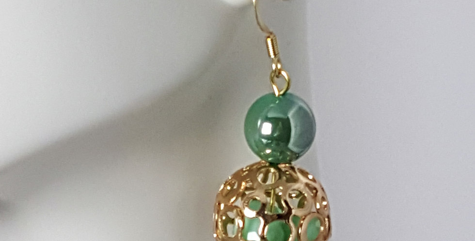 Green Filigree Bead Cage Earrings