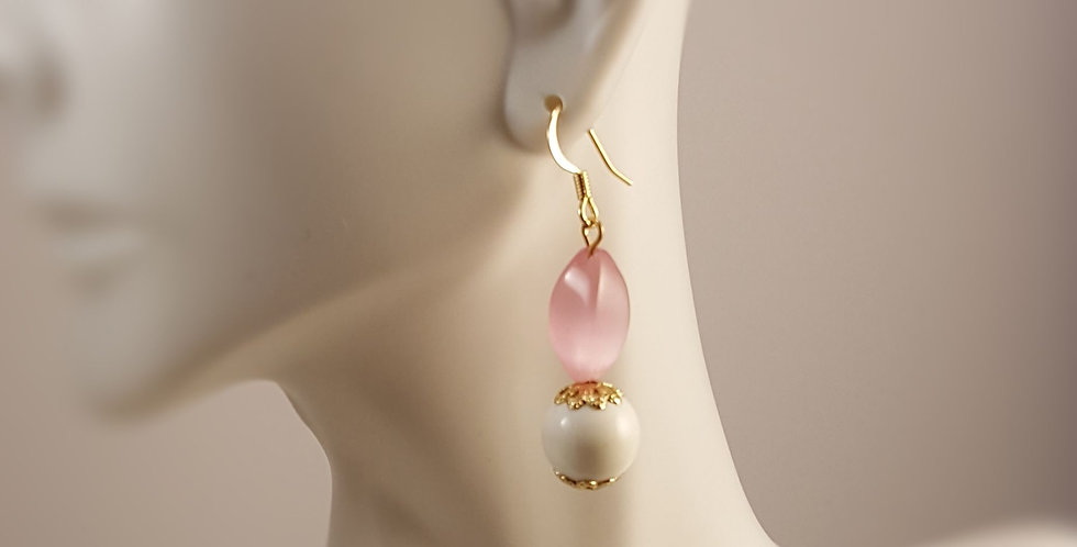 Cat's Eye Pink with White Gumball Earrings
