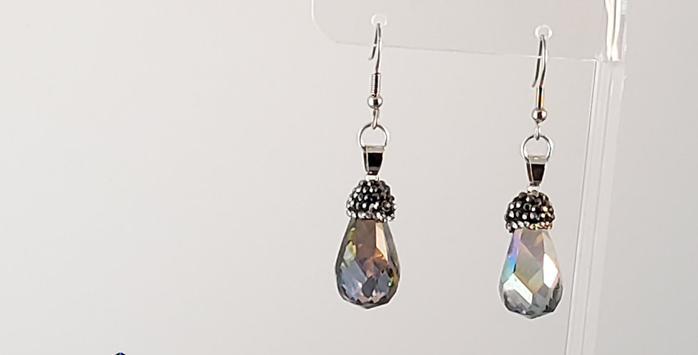 Faceted Teardrop with Pave Details Earrings