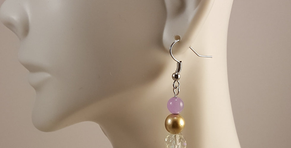 Lavender Gold and Crystal Earrings