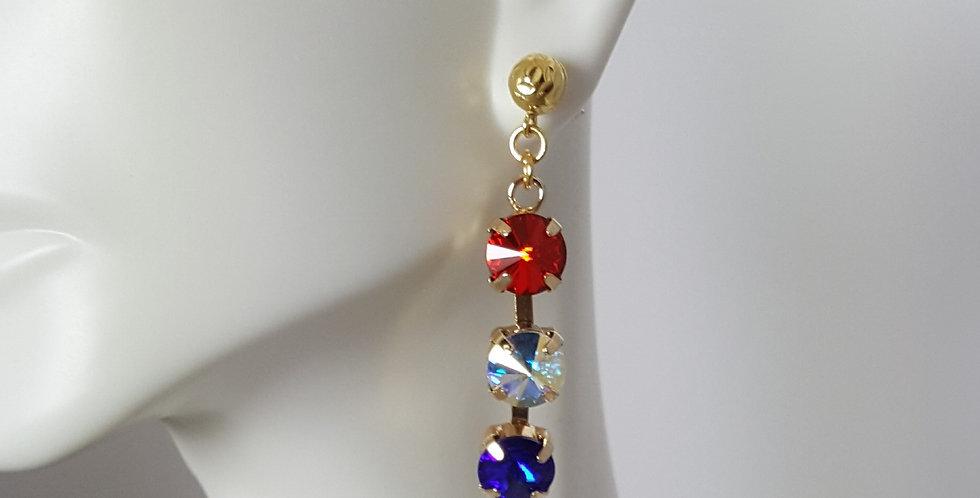 SS39 Swarovski Earrings- Triple Gold 4th of July