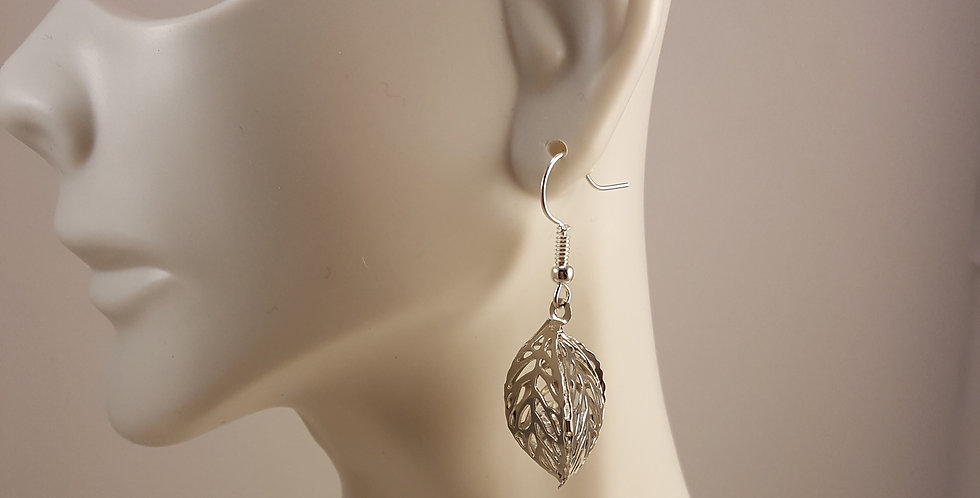 Silver Leaf with Crystals Earrings