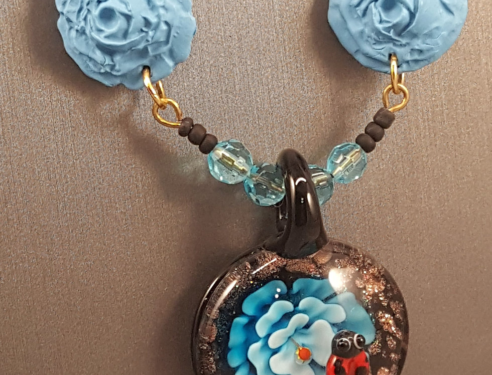 Ladybug Necklace Set - Blue