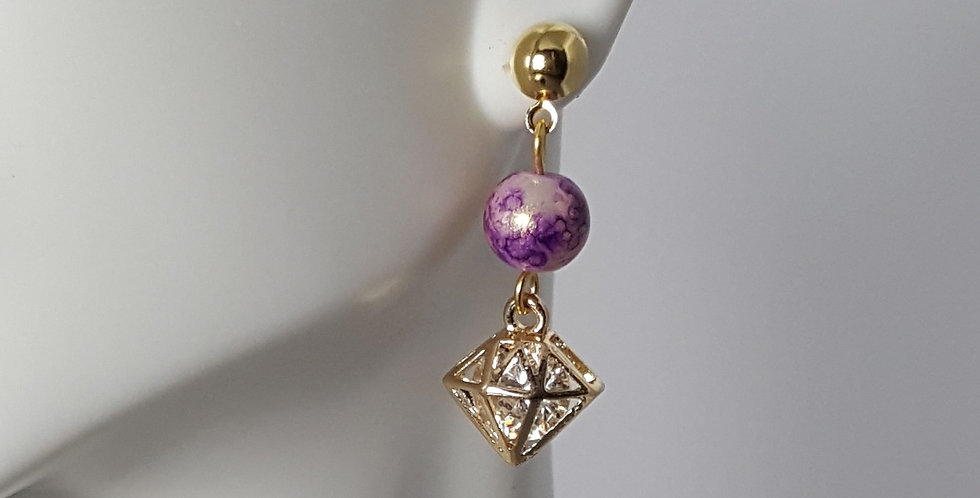 Lavender Gold Diamond Bead Cage Post Earrings