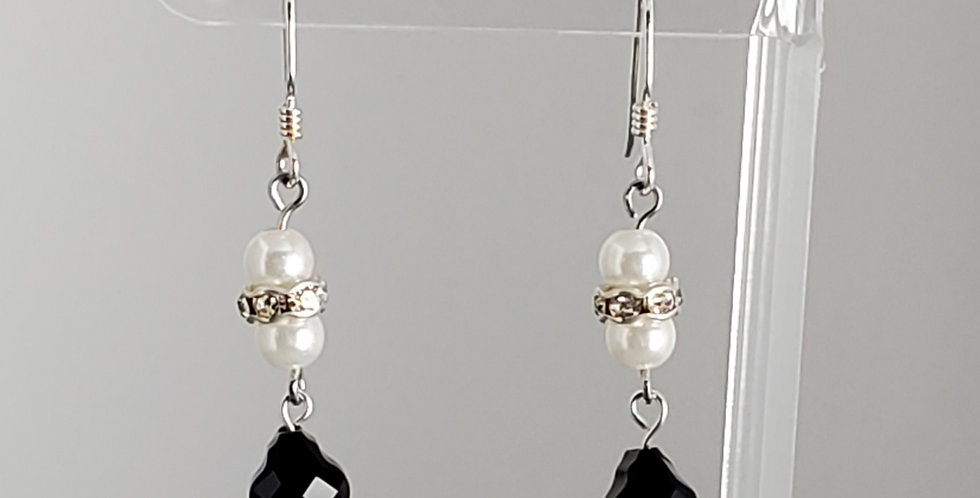 Swarovski and White Round Earrings - Jet Baroque