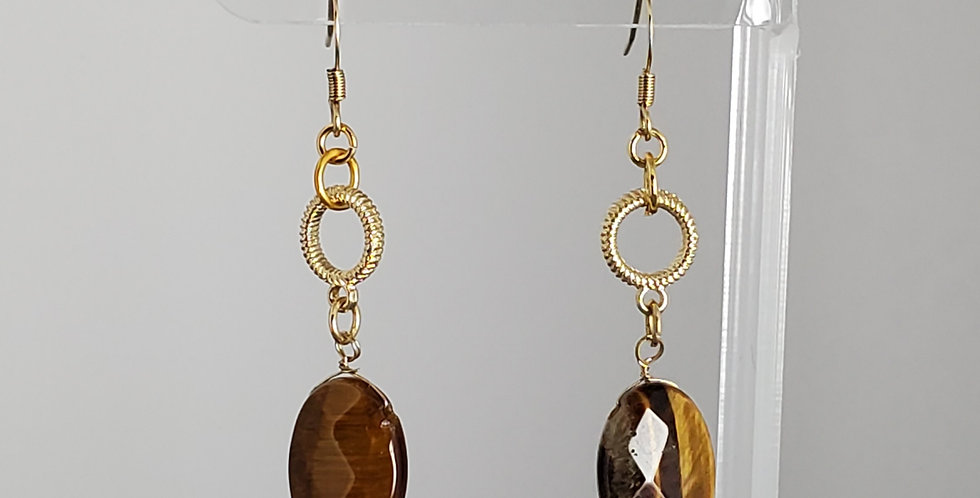 Gold Tigereye Faceted Teardrop Earrings