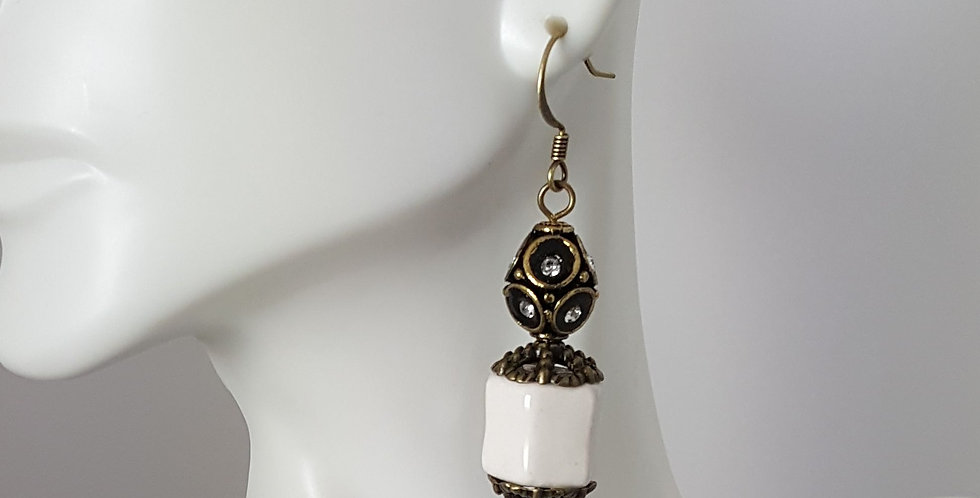 Antiqued Gold White Ceramic Fishhook